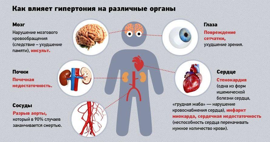 На какие органы влияет гипертония