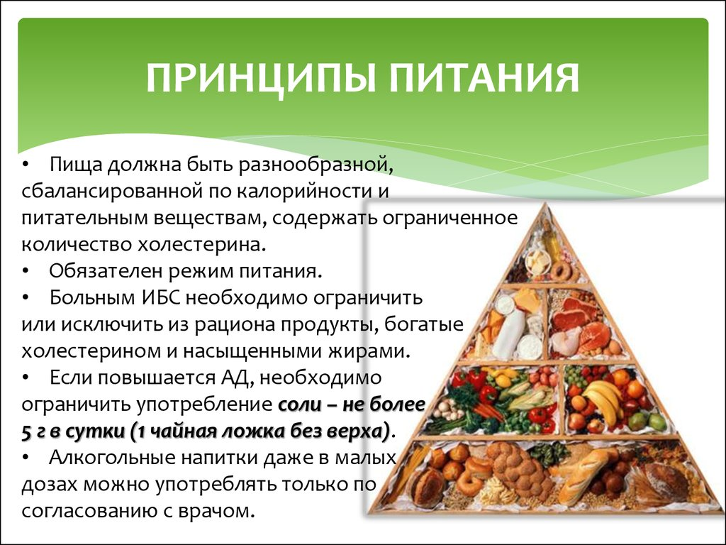 Принципы питания на диете